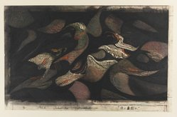 Hoshi Joichi (Japanese, 1913-1979). <em>A Violence</em>, 1962. Woodcut, 9 13/16 x 29 1/2 in. (25 x 75 cm). Brooklyn Museum, Carll H. de Silver Fund, 63.67.7. © artist or artist's estate (Photo: Brooklyn Museum, 63.67.11_IMLS_PS4.jpg)