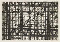Kimura Shigeru (Japanese). <em>A Steel Frame Building</em>. Etching, 6 11/16 x 9 13/16 in. (17 x 25 cm). Brooklyn Museum, Carll H. de Silver Fund, 63.67.2. © artist or artist's estate (Photo: Brooklyn Museum, 63.67.2_IMLS_PS3.jpg)