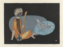 Azechi Umetaro (Japanese, 1902-1999). <em>Oyako - dori</em>, 1955 (possibly). Relief print with soft lead plate Brooklyn Museum, Carll H. de Silver Fund, 63.68.1. © artist or artist's estate (Photo: Brooklyn Museum, 63.68.1_IMLS_PS4.jpg)