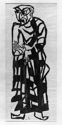 Munakata Shiko (Japanese, 1903-1975). <em>Anaritsu (Aniruddha)</em>, ca. 1939. Woodcut on paper, 35 1/2 x 12 1/8 in. (90.2 x 30.8 cm). Brooklyn Museum, Carll H. de Silver Fund, 63.68.5. © artist or artist's estate (Photo: Brooklyn Museum, 63.68.5_acetate_bw.jpg)