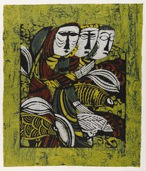 Watanabe Sadao (Japanese, 1913-1996). <em>Shepherds</em>, 1962. Stencil on paper, sheet: 27 x 23 in. (68.6 x 58.4 cm). Brooklyn Museum, Carll H. de Silver Fund, 63.68.8. © artist or artist's estate (Photo: Brooklyn Museum, 63.68.8_IMLS_PS4.jpg)