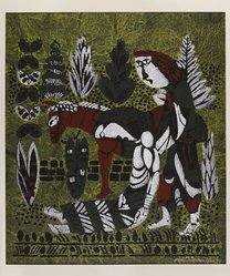 Watanabe Sadao (Japanese, 1913-1996). <em>Good Samaritan</em>, 1959. Stencil on paper, sheet: 26 3/4 x 23 1/4 in. (67.9 x 59.1 cm). Brooklyn Museum, Carll H. de Silver Fund, 63.68.9. © artist or artist's estate (Photo: Brooklyn Museum, 63.68.9_IMLS_PS4.jpg)