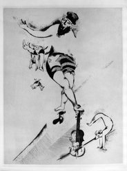 Marc Chagall (French, born Russia, 1887-1985). <em>Acrobat with Violin</em>, 1925. Etching and drypoint on heavy wove paper, 16 1/2 x 12 1/2 in. (41.9 x 31.8 cm). Brooklyn Museum, Gift of The Louis E. Stern Foundation, Inc., 64.101.136. © artist or artist's estate (Photo: Brooklyn Museum, 64.101.136_acetate_bw.jpg)