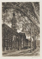 Samuel Chamberlain (American, 1895-1975). <em>Nassau Hall From Chancellor Green</em>, probably 1945. Drypoint, 11 7/16 x 8 1/16 in. (29 x 20.5 cm). Brooklyn Museum, Gift of The Louis E. Stern Foundation, Inc., 64.101.137. © artist or artist's estate (Photo: Brooklyn Museum, 64.101.137_PS4.jpg)