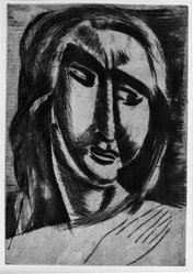 André Derain (French, 1880-1954). <em>Head of a Woman</em>, ca. 1915. Drypoint on laid paper, 12 3/8 x 8 9/16 in. (31.5 x 21.8 cm). Brooklyn Museum, Gift of The Louis E. Stern Foundation, Inc., 64.101.145. © artist or artist's estate (Photo: Brooklyn Museum, 64.101.145_acetate_bw.jpg)