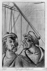 Otto Dix (German, 1891-1969). <em>Technical Staff (Technisches Personal)</em>, 1922. Etching and drypoint on wove paper, Image (Plate): 11 13/16 x 7 13/16 in. (30 x 19.8 cm). Brooklyn Museum, Gift of The Louis E. Stern Foundation, Inc., 64.101.148. © artist or artist's estate (Photo: Brooklyn Museum, 64.101.148_acetate_bw.jpg)