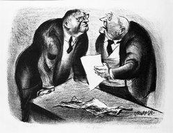 William Gropper (American, 1897-1977). <em>Senators</em>, 20th century. Lithograph on wove paper, 8 1/4 x 11 in. (21 x 28 cm). Brooklyn Museum, Gift of The Louis E. Stern Foundation, Inc., 64.101.176. © artist or artist's estate (Photo: Brooklyn Museum, 64.101.176_bw.jpg)