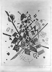 Vasily Kandinsky (Russian, 1866-1944). <em>Small Worlds IX (Kleine Welten IX)</em>, 1922. Drypoint on heavy wove paper, Image (Plate): 9 3/8 x 7 7/8 in. (23.8 x 20 cm). Brooklyn Museum, Gift of The Louis E. Stern Foundation, Inc., 64.101.234. © artist or artist's estate (Photo: Brooklyn Museum, 64.101.234_acetate_bw.jpg)
