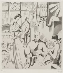 Jean Emile Laboureur (French, 1887-1947). <em>Dinner at the Bisto (Le diner chez le bistrot)</em>, 1923. Engraving on wove paper, 6 5/16 x 5 5/8 in. (16 x 14.3 cm). Brooklyn Museum, Gift of The Louis E. Stern Foundation, Inc., 64.101.242. © artist or artist's estate (Photo: Brooklyn Museum, 64.101.242_PS4.jpg)