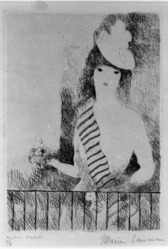 Marie Laurencin (French, 1885-1956). <em>Woman at the Railing (Femme a la barre)</em>, early 20th century. Etching on wove paper, 8 1/4 x 6 in. (21 x 15.2 cm). Brooklyn Museum, Gift of The Louis E. Stern Foundation, Inc., 64.101.246. © artist or artist's estate (Photo: Brooklyn Museum, 64.101.246_bw.jpg)