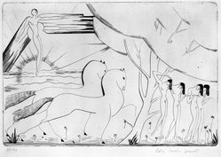Boris Lovet- Lorski (French, 1894-1973). <em>Horses and Nudes</em>, 1920-1939. Engraving on laid paper, 7 13/16 x 11 9/16 in. (19.8 x 29.3 cm). Brooklyn Museum, Gift of The Louis E. Stern Foundation, Inc., 64.101.260. © artist or artist's estate (Photo: Brooklyn Museum, 64.101.260_bw.jpg)