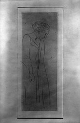 Henri Matisse (French, 1869-1954). <em>Woman in a Kimono</em>, 1914. Etching on wove paper, 6 5/16 x 2 3/8 in. (16 x 6 cm). Brooklyn Museum, Gift of The Louis E. Stern Foundation, Inc., 64.101.277. © artist or artist's estate (Photo: Brooklyn Museum, 64.101.277_acetate_bw.jpg)