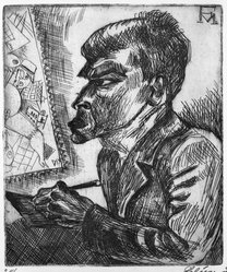 Conrad Felixmüller (German, 1897-1977). <em>Portrait of Otto Dix</em>. Etching on laid paper, 11 5/8 x 9 11/16 in. (29.5 x 24.6 cm). Brooklyn Museum, Gift of The Louis E. Stern Foundation, Inc., 64.101.282. © artist or artist's estate (Photo: Brooklyn Museum, 64.101.282_bw.jpg)