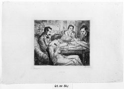 John Sloan (American, 1871-1951). <em>Memory (Family Group)</em>, 1906. Etching on off-white, medium thick, moderately textured wove paper, Image: 7 1/16 x 8 5/8 in. (17.9 x 21.9 cm). Brooklyn Museum, Gift of The Louis E. Stern Foundation, Inc., 64.101.321. © artist or artist's estate (Photo: Brooklyn Museum, 64.101.321_bw_SL1.jpg)