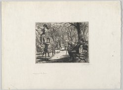 John Sloan (American, 1871-1951). <em>Swinging in the Square</em>, 1912. Etching on cream-colored, medium weight, slightly textured laid paper, Sheet: 8 7/16 x 11 7/16 in. (21.4 x 29.1 cm). Brooklyn Museum, Gift of The Louis E. Stern Foundation, Inc., 64.101.322. © artist or artist's estate (Photo: Brooklyn Museum, 64.101.322_full_PS2.jpg)