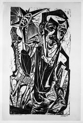 Antonio Frasconi (American, born Argentina, 1919-2013). <em>Self Portrait with Don Quixote</em>, 1949. Woodcut on Japan paper, 33 x 18 5/8 in. (83.8 x 47.3 cm). Brooklyn Museum, Caroline A.L. Pratt Fund, 64.221.1. © artist or artist's estate (Photo: Brooklyn Museum, 64.221.1_bw.jpg)