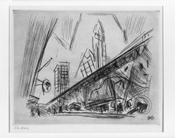 John Marin (American, 1870-1953). <em>Downtown New York</em>, 1921. Etching on wove paper, Sheet: 9 1/4 x 11 3/4 in. (23.5 x 29.8 cm). Brooklyn Museum, Charles Stewart Smith Memorial Fund, 64.223. © artist or artist's estate (Photo: Brooklyn Museum, 64.223_acetate_bw.jpg)