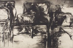 Michael Mazur (American, 1935-2009). <em>Closed Ward No. 14: Three Beds</em>, ca. 1963. Etching on paper, 23 3/4 x 35 1/2 in. (60.3 x 90.2 cm). Brooklyn Museum, Dick S. Ramsay Fund, 64.25. © artist or artist's estate (Photo: Brooklyn Museum, 64.25.jpg)