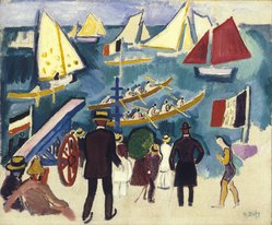 Raoul Dufy (French, 1877-1953). <em>The Regatta (Les Régates)</em>, ca. 1908-1910. Oil on canvas, 21 1/4 x 25 11/16 in. (54 x 65.2 cm). Brooklyn Museum, Gift of Mr. and Mrs. William K. Jacobs, Jr., 64.91. © artist or artist's estate (Photo: Brooklyn Museum, 64.91_SL1.jpg)