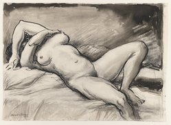 Albert Sterner (American, 1863-1946). <em>Nude</em>, 1943. Ink and wash on paper, sheet: 12 3/4 x 17 5/16 in. (32.4 x 44 cm). Brooklyn Museum, Gift of the Estate of Emily Winthrop Miles, 64.98.294. © artist or artist's estate (Photo: Brooklyn Museum, 64.98.294_IMLS_PS3.jpg)