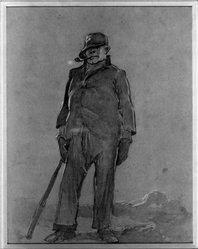 Everett Shinn (American, 1876-1953). <em>Walking Man</em>. Watercolor Brooklyn Museum, Gift of Daniel and Rita Fraad, Jr., 65.204.12. © artist or artist's estate (Photo: Brooklyn Museum, 65.204.12_acetate_bw.jpg)