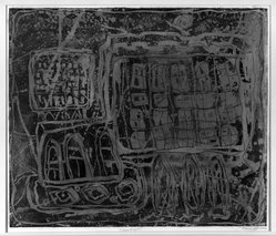 Louise Nevelson (American, born Russia, 1899-1988). <em>Circus Wagon</em>, 1952-1954. Etching in on paper, sheet: 21 x 18 3/4 in. (53.3 x 47.6 cm). Brooklyn Museum, Gift of Louise Nevelson, 65.22.10. © artist or artist's estate (Photo: Brooklyn Museum, 65.22.10_acetate_bw.jpg)