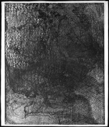 Louise Nevelson (American, born Russia, 1899-1988). <em>The Face in the Moon</em>, 1952-1954. Etching on paper, sheet: 22 1/4 x 19 in. (56.5 x 48.3 cm). Brooklyn Museum, Gift of Louise Nevelson, 65.22.11. © artist or artist's estate (Photo: Brooklyn Museum, 65.22.11_bw.jpg)