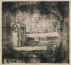 Louise Nevelson (American, born Russia, 1899-1988). <em>Far Away Landscape</em>, 1952-1954. Etching and drypoint on paper, sheet: 23 7/8 x 20 1/8 in. (60.6 x 51.1 cm). Brooklyn Museum, Gift of Louise Nevelson, 65.22.12. © artist or artist's estate (Photo: Brooklyn Museum, 65.22.12_PS6.jpg)