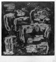 Louise Nevelson (American, born Russia, 1899-1988). <em>In the Land Where the Trees Talk</em>, 1952-1954. Etching and drypoint on paper, sheet: 22 5/8 x 22 3/4 in. (57.5 x 57.8 cm). Brooklyn Museum, Gift of Louise Nevelson, 65.22.14. © artist or artist's estate (Photo: Brooklyn Museum, 65.22.14_acetate_bw.jpg)