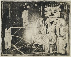 Louise Nevelson (American, born Russia, 1899-1988). <em>Jungle Figures II</em>, 1952-1954. Etching on paper, sheet: 20 3/8 x 25 1/4 in. (51.8 x 64.1 cm). Brooklyn Museum, Gift of Louise Nevelson, 65.22.16. © artist or artist's estate (Photo: Brooklyn Museum, 65.22.16_PS6.jpg)