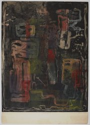 Louise Nevelson (American, born Russia, 1899-1988). <em>Jungle Figures III</em>, circa 1952-1955. Etching, sheet: 30 13/16 x 21 3/4 in. (78.3 x 55.2 cm). Brooklyn Museum, Gift of Louise Nevelson, 65.22.17. © artist or artist's estate (Photo: , 65.22.17_PS9.jpg)