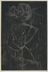 Louise Nevelson (American, born Russia, 1899-1988). <em>Ancient Figure</em>, 1952-1954. Etching and drypoint on paper, sheet: 22 1/4 x 17 1/4 in. (56.5 x 43.8 cm). Brooklyn Museum, Gift of Louise Nevelson, 65.22.1. © artist or artist's estate (Photo: Brooklyn Museum, 65.22.1_PS6.jpg)