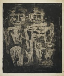 Louise Nevelson (American, born Russia, 1899-1988). <em>Night Figures</em>, 1952-1954. Etching on paper, sheet: 25 15/16 x 24 1/8 in. (65.9 x 61.3 cm). Brooklyn Museum, Gift of Louise Nevelson, 65.22.20. © artist or artist's estate (Photo: Brooklyn Museum, 65.22.20_PS6.jpg)