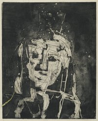 Louise Nevelson (American, born Russia, 1899-1988). <em>Portrait</em>, 1952-1954. Etching on paper, sheet: 24 5/8 x 18 3/4 in. (62.5 x 47.6 cm). Brooklyn Museum, Gift of Louise Nevelson, 65.22.21. © artist or artist's estate (Photo: Brooklyn Museum, 65.22.21_PS6.jpg)