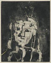 Louise Nevelson (American, born Russia, 1899-1988). <em>Portrait</em>, 1952-1954. Etching on paper, sheet: 24 5/8 x 18 3/4 in. (62.5 x 47.6 cm). Brooklyn Museum, Gift of Louise Nevelson, 65.22.21. © artist or artist's estate (Photo: Brooklyn Museum, 65.22.21_PS6.jpg)