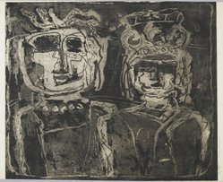 Louise Nevelson (American, born Russia, 1899-1988). <em>Royalty</em>, 1952-1954. Etching on paper, sheet: 20 x 26 3/4 in. (50.8 x 67.9 cm). Brooklyn Museum, Gift of Louise Nevelson, 65.22.22. © artist or artist's estate (Photo: Brooklyn Museum, 65.22.22_PS6.jpg)