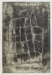 Louise Nevelson (American, born Russia, 1899-1988). <em>Sunken Cathedral</em>, 1952-1954. Etching and drypoint on paper, sheet: 22 1/4 x 17 3/8 in. (56.5 x 44.1 cm). Brooklyn Museum, Gift of Louise Nevelson, 65.22.23. © artist or artist's estate (Photo: Brooklyn Museum, 65.22.23_PS6.jpg)