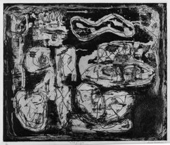 Louise Nevelson (American, born Russia, 1899-1988). <em>Wild Jungle</em>, 1952-1954. Etching on paper, sheet: 18 3/4 x 21 7/16 in. (47.6 x 54.5 cm). Brooklyn Museum, Gift of Louise Nevelson, 65.22.25. © artist or artist's estate (Photo: Brooklyn Museum, 65.22.25_acetate_bw.jpg)