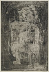 Louise Nevelson (American, born Russia, 1899-1988). <em>Figure at Mid-noon</em>, 1952-1954. Etching and drypoint on paper, sheet: 20 3/4 x 13 5/8 in. (52.7 x 34.6 cm). Brooklyn Museum, Gift of Louise Nevelson, 65.22.28. © artist or artist's estate (Photo: Brooklyn Museum, 65.22.28_PS6.jpg)