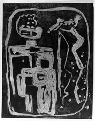 Louise Nevelson (American, born Russia, 1899-1988). <em>Ancient Figure</em>, 1952-1954. Etching on paper, sheet: 27 9/16 x 21 7/16 in. (70 x 54.5 cm). Brooklyn Museum, Gift of Louise Nevelson, 65.22.3. © artist or artist's estate (Photo: Brooklyn Museum, 65.22.3_acetate_bw.jpg)