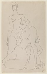 Louise Nevelson (American, born Russia, 1899-1988). <em>Three Female Figures</em>, n.d. Ink on paper, sheet: 17 3/8 x 11 in. (44.1 x 27.9 cm). Brooklyn Museum, Gift of Louise Nevelson, 65.22.44. © artist or artist's estate (Photo: Brooklyn Museum, 65.22.44_IMLS_PS3.jpg)
