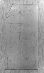 Louise Nevelson (American, born Russia, 1899-1988). <em>Standing Male Figure</em>, n.d. Ink over graphite on paper, sheet (irregular): 19 3/16 x 9 5/8 in. (48.7 x 24.4 cm). Brooklyn Museum, Gift of Louise Nevelson, 65.22.46. © artist or artist's estate (Photo: Brooklyn Museum, 65.22.46_acetate_bw.jpg)
