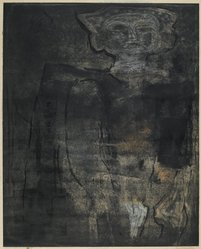 Louise Nevelson (American, born Russia, 1899-1988). <em>Ancient Figure</em>, 1952-1954. Etching on paper, sheet: 19 7/16 x 25 1/8 in. (49.4 x 63.8 cm). Brooklyn Museum, Gift of Louise Nevelson, 65.22.4. © artist or artist's estate (Photo: Brooklyn Museum, 65.22.4_PS6.jpg)