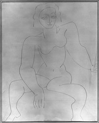 Louise Nevelson (American, born Russia, 1899-1988). <em>Seated Figure</em>, n.d. Graphite on paper, sheet: 16 13/16 x 13 7/8 in. (42.7 x 35.2 cm). Brooklyn Museum, Gift of Louise Nevelson, 65.22.53. © artist or artist's estate (Photo: Brooklyn Museum, 65.22.53_acetate_bw.jpg)