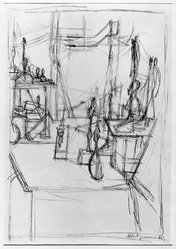 Alberto Giacometti (Swiss, 1901-1966). <em>Studio Interior</em>, 1951. Lithograph on wove Arches paper, 20 3/4 x 14 3/4 in. (52.7 x 37.5 cm). Brooklyn Museum, Gift of Louise Nevelson, 65.22.56. © artist or artist's estate (Photo: Brooklyn Museum, 65.22.56_acetate_bw.jpg)