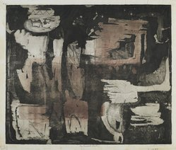 Louise Nevelson (American, born Russia, 1899-1988). <em>The Ancient Garden</em>, 1952-1954. Etching on paper, sheet: 16 7/8 x 20 3/8 in. (42.9 x 51.8 cm). Brooklyn Museum, Gift of Louise Nevelson, 65.22.5. © artist or artist's estate (Photo: Brooklyn Museum, 65.22.5_PS6.jpg)