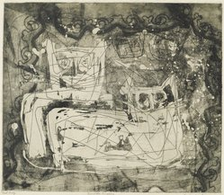 Louise Nevelson (American, born Russia, 1899-1988). <em>Animal Kingdom</em>, 1952-1954. Etching on paper, sheet: 17 1/2 x 17 3/4 in. (44.5 x 45.1 cm). Brooklyn Museum, Gift of Louise Nevelson, 65.22.6. © artist or artist's estate (Photo: Brooklyn Museum, 65.22.6_PS6.jpg)