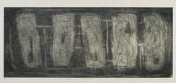 Louise Nevelson (American, born Russia, 1899-1988). <em>Archaic Figures</em>, 1952-1954. Etching on paper, sheet: 10 x 20 9/16 in. (25.4 x 52.2 cm). Brooklyn Museum, Gift of Louise Nevelson, 65.22.7. © artist or artist's estate (Photo: Brooklyn Museum, 65.22.7_PS6.jpg)