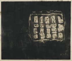 Louise Nevelson (American, born Russia, 1899-1988). <em>Circus Wagon</em>, 1952-1954. Etching on paper, sheet: 18 x 20 3/4 in. (45.7 x 52.7 cm). Brooklyn Museum, Gift of Louise Nevelson, 65.22.8. © artist or artist's estate (Photo: Brooklyn Museum, 65.22.8_PS6.jpg)