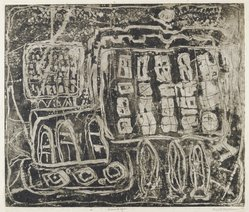 Louise Nevelson (American, born Russia, 1899-1988). <em>Circus Wagon</em>, 1952-1954. Etching on paper, sheet: 22 3/8 x 17 3/8 in. (56.8 x 44.1 cm). Brooklyn Museum, Gift of Louise Nevelson, 65.22.9. © artist or artist's estate (Photo: Brooklyn Museum, 65.22.9_PS6.jpg)